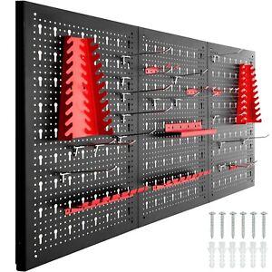 Panneau Mural Perforé Porte Outils Atelier Garage 120x2x60cm 25pcs Crochets Noir