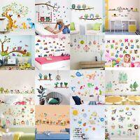 Cartoon Animals Kids Children Wall Stickers Bedroom Art Decal For Play StudyLN