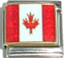 CANADA CANADIAN FLAG Ceramic Italian Charm 9mm - 1 x PQ008 Single Bracelet Link
