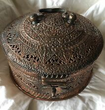 Antique/Vintage Large Islamic Mughal Pandan Betel Box Tinned Copper Complete!