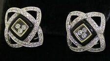 14K white gold beautiful 1.10CTW floating diamond cluster enamel earrings