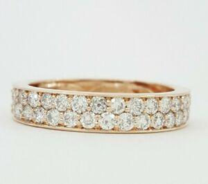 0.7 ct 10K Rose Gold Round Brilliant Cut Diamond Pave Wedding Band Ring