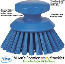 Vikan Round Heavy Duty Stiff Scrubbing Brush Floors Work Surface Car Wheels Blue