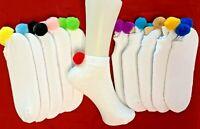 Kids- shoe sz 10-3-Valentines Gift Valentines Hearts wwhite k Iridescent Tinsel poms Socks Pom Pom Socks 1 pair