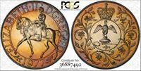 """1977 GREAT BRITAIN 25 PENCE PCGS MS65 """"JUBILEE"""" COLOR TONED COIN IN HIGH GRADE"""