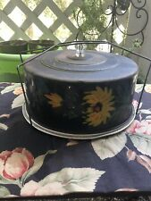 Vintage Cake Carrier Metal And Handpainted