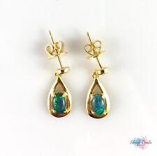 Genuine Australian Opal Drop Dangle Earrings 6x4mm Gold Plated Sterling Silver