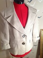 """CHIC WALLIS Petite linen mix jacket, stone colour 12, 40, vgc, worn once 20"""" L"""
