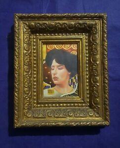 Gustav Klimt, woman portrait on paper with frame, rare, vintage, woman