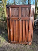 Antique Wood Carved Gothic Double Wardrobe Armoire Compactum Arts & Crafts #L