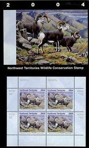 NORTHWEST TERR #8M 2004 STONE SHEEP CONSERVATION STAMP MINI SHEET OF 4 IN FOLDER