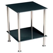 Tavolino in vetro da salotto camera da letto ufficio quadrato 40x40x50 cm nero