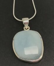 Faceted aquamarine solid Sterling Silver pendant, new, snake chain, UK seller.