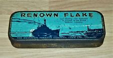 More details for rare c1930 'renown flake' tobacco vintage tin in nice shape. warship design