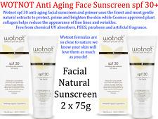 2 x 75g WOTNOT Anti Aging Face Facial Natural Sunscreen SPF30+ ( & primer )  NEW