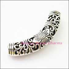 1Pc Tibetan Silver Flower Wave Tube Spacer Beads Charms Connectors 55mm