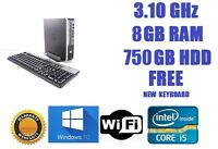 FAST HP Elite 8200 USDT Core i5 750GB 8GB PC Desktop Windows 10 WiFi