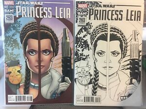 PRINCESS LEIA STAR WARS 2015 #1 VARIANT B&W and VARIANT COLOR COVER NM+ 2 CT LOT