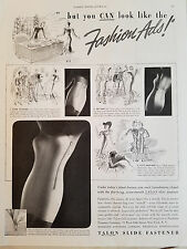 1937 Vintage Womens TALON SLIDE FASTENER Girdle Clothing Fashion Ad