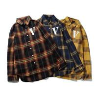 New hot VLONE big V plaid shirt jacket Men and women couple shirts