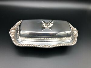 """Vintage Silverplate Covered Butter Dish w/Butterfly Handle, Glass Insert, 8"""" L"""