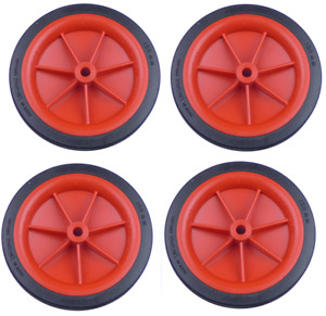 """4 x 102mm (4"""") Red Plastic Wheels With Plastic Tyres"""