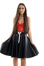 New Style Women Ladies Black PVC Elasticated Skirt With Bow Skater Leather Look