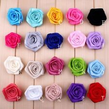 30pcs 4cm Satin Ribbon Rose Artificial Fabric Flowers For Baby Headbands