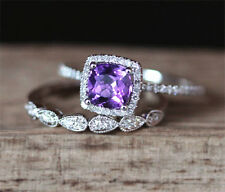 2.90 Ctw Amethyst & Diamond Accents 14K White Gold Engagement Bridal Ring Set