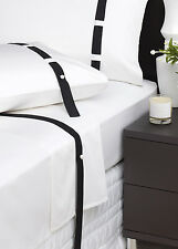 New DAVINCI EDINBOROUGH BLACK White 500 TC 100% 4 Piece KING Size SHEET SET