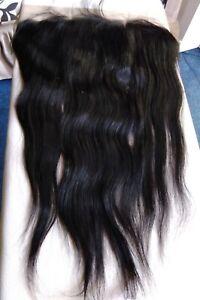 "18"" 13x4 EAR TOEAR BRAZILIAN HUMAN HAIR LACE FRONTAL CLOSURE 1B STRAIGHT UK 12A"