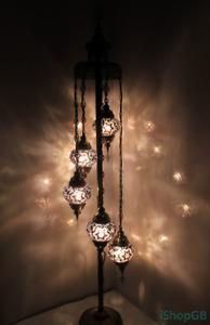 Beautiful Purple 5 Balls Turkish Moroccan Handmade Glass Floor Lamp