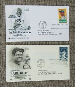Babe Ruth Jackie Robinson First Day Issue Stamps