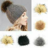 DIY Large Raccoon Faux Fur Pom Pom Ball with Press Button for Knitting Hat New
