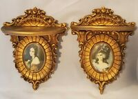 Pair Vintage Hollywood Regency Ornate Gold Cameo Creations Wall Sconces