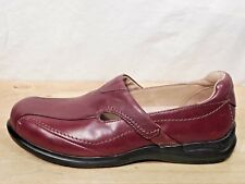 Aravon Flats 8B Burgundy Red Leather Slip On Shoes