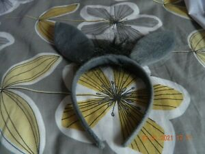 grey donkey ear's, tail and nose. fancy dress.