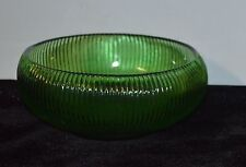 Vintage E.O.Brody Co.Green Ribbed Round Glass Bowl Cleveland OH. U.S.A.