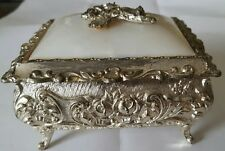 Vintage jewelry box Japan  silver plated metal with mirror inside