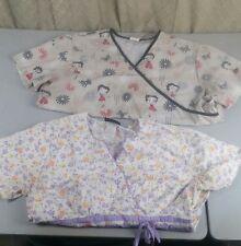 2x lot size large scrub tops shirt cherokee butterflys Betty Boop flowers stars