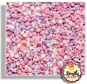 Confetti Cupcake Sprinkles Pink White Lilac Edible Decorations Cake Toppers 25g