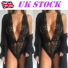 Women Lace Nightgown Crotchlace Bodysuit Lingerie Set Sexy Underwear Nightwear