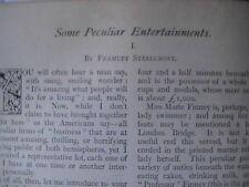 Side Show Shows Weird Circus Old Antique 1896 Article Cliquot Ricardo