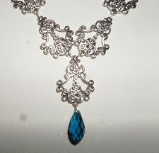 FILIGREE VICTORIAN STYL SILVER PL FACETED PEACOCK BLUE GLASS BRIOLETTE NECKLACE