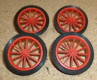 Lego Wheel Red Spokes  with Black Tyre X 4 Parts 35 and 36 Vintage Cadillac Car