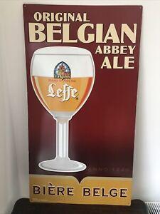 Large Leffe Belgian Beer Metal Sign Home Bar Man Cave Aluminium Vintage