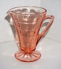 1930s Block Optic Pink Depression Glass Footed Creamer Flared Top Anchor Hocking