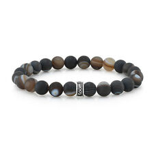 ROOM101  8MM AGATE STRETCH  BRACELET WITH SILVER LOGO