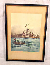 Admiral Perry on Lake Erie War of 1812 Lithograph by Julian O Davidson & V Allen