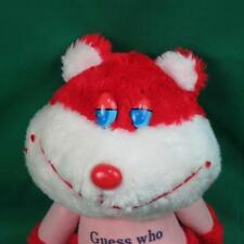 VINTAGE FUN WORLD GUESS WHO LOVES YOU HEART RED PINK KITTY CAT PLUSH VALENTINE